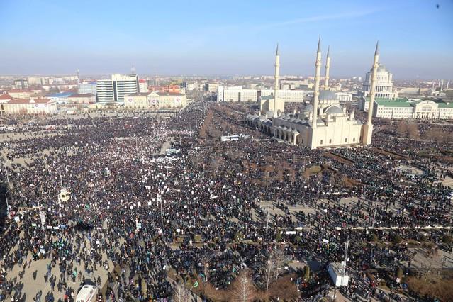 Imagen aérea de la manifestación de Grozny