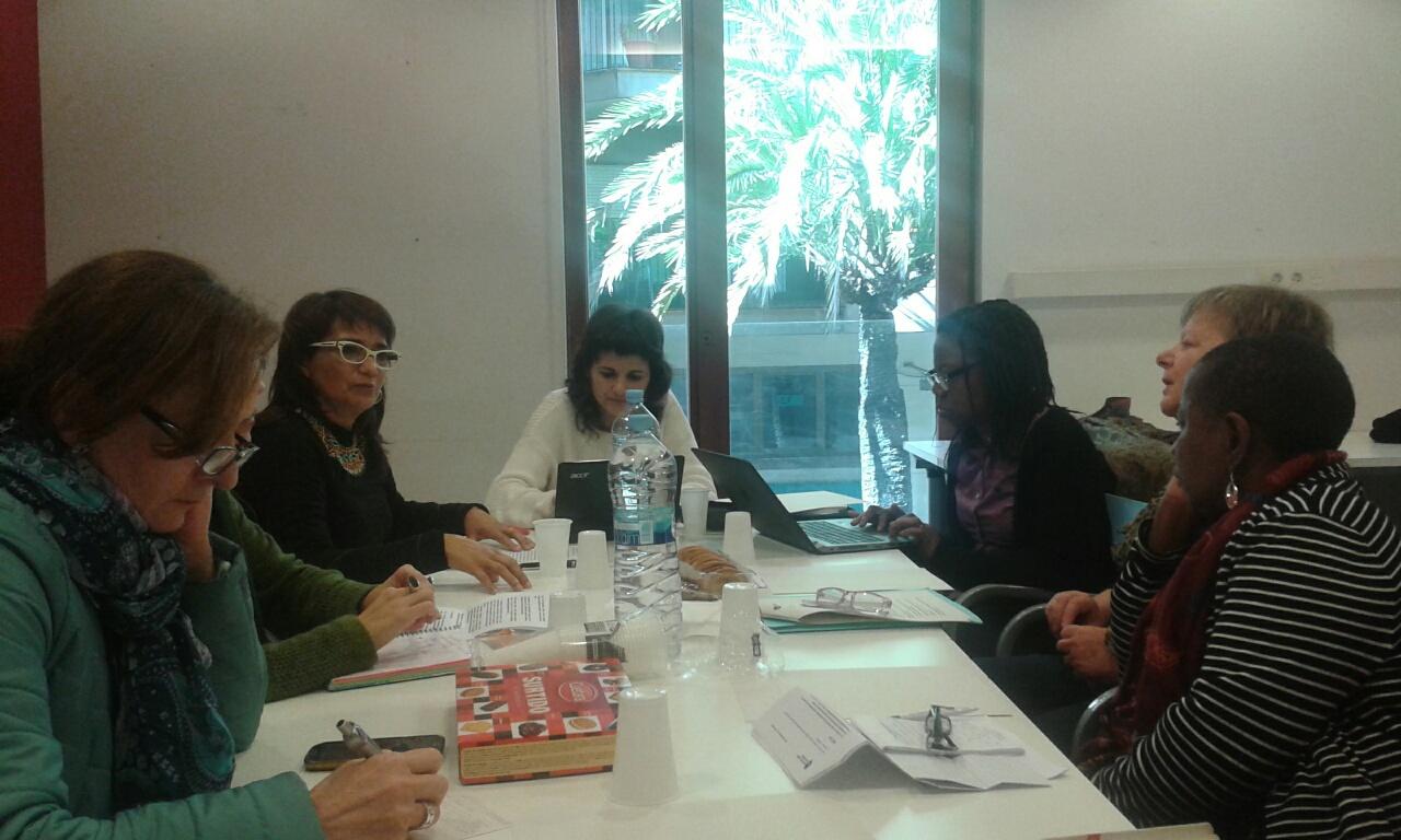 Las activistas durante su encuentro en Barcelona